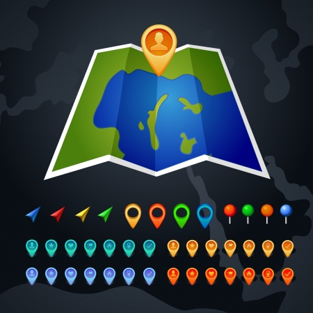 map with GPS and pin icon Illustration