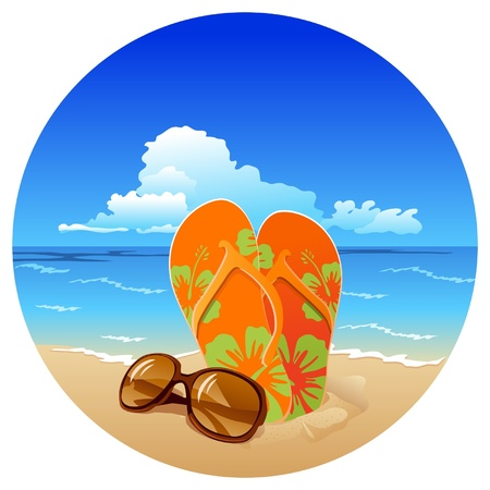 Pair of flip flops and sunglasses on the beach on sea background
