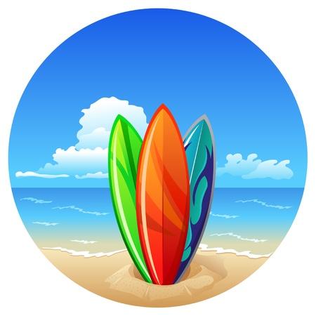 hawaiana: Tablas de surf en la playa en el fondo del mar Vectores