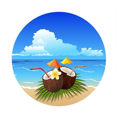 tropical drink: Tropic coco coctel Vectores