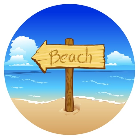 A wooden pointer to the beach on sea background Vector