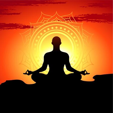 illustration of yoga poses at sunset background