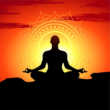 illustration of yoga poses at sunset background  Vector