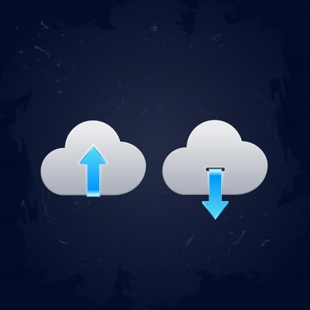 hub computer: Cloud computing upload and download icons