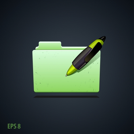 folder icon with green pen  Vector