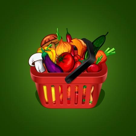 canasta de panes: cesta de la compra con un mont�n de verduras