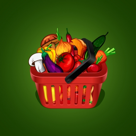 fruits in a basket: shopping basket with bunch of vegetables Illustration