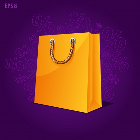 Shopping paper bag green empty, sale illustration Vector