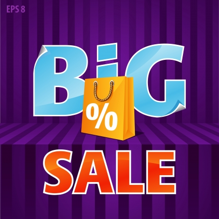 illustration of big sale poster with paper bag Vector