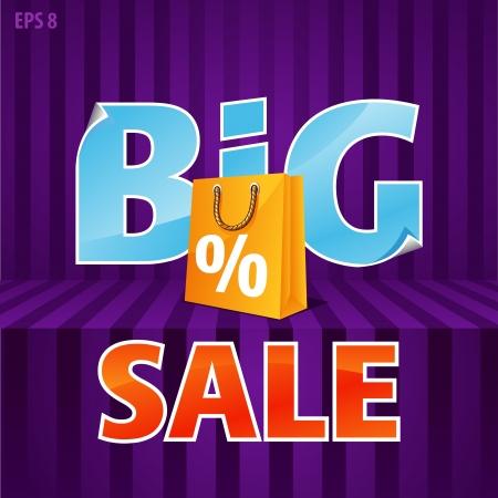 big deal:  illustration of big sale poster with paper bag Illustration
