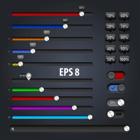 set of progress loading bars