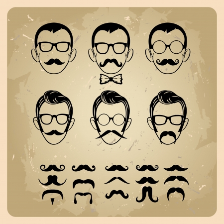 old fashioned: Faces with Mustaches, sunglasses,eyeglasses and a bow tie - vector illustration Illustration