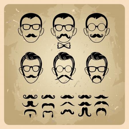 viso di uomo: Volti con i baffi, occhiali da sole, occhiali da vista e un papillon - illustrazione vettoriale