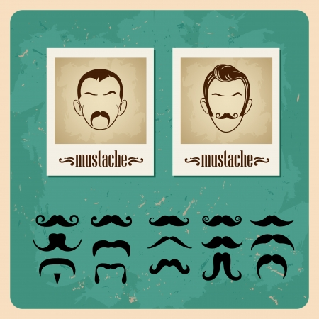 set of vector illustration faces with mustaches Vector