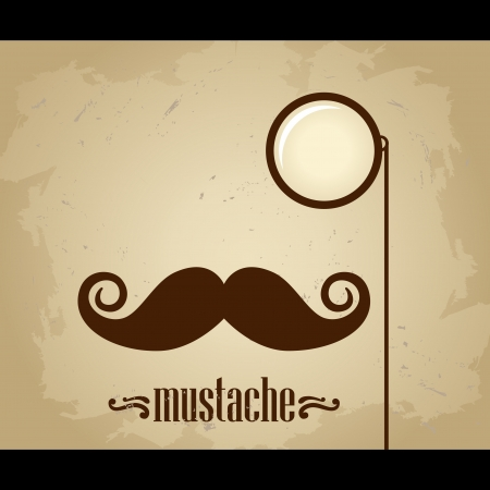 Vector hipster mustache and monocle Çizim