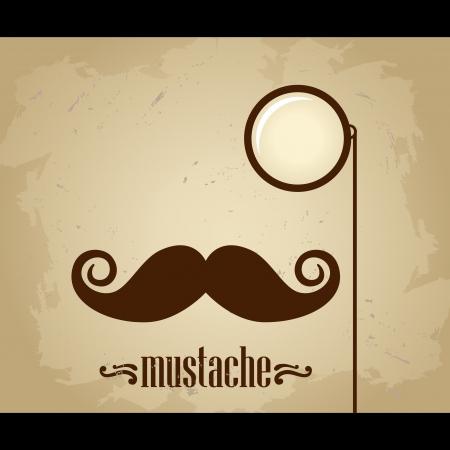 Wektor hipster wąsy i monokl