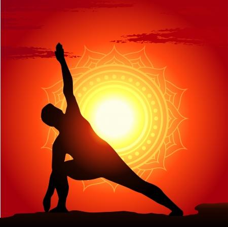 Vector illustration of meditating and doing yoga man Stock Vector - 15529907