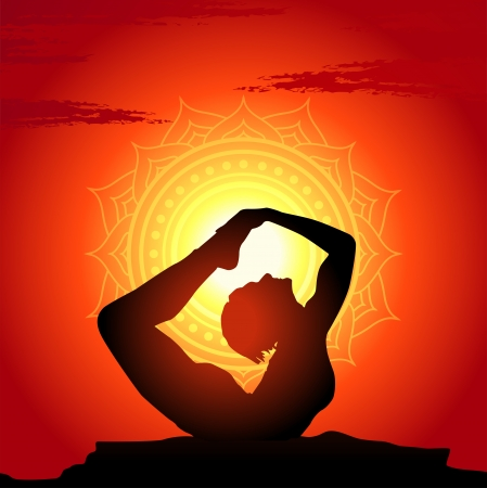 yoga outside: Vector illustration of yoga poses at sunset background