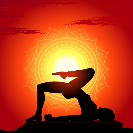 Vector illustration of yoga poses at sunset background Vector