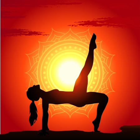 Vector illustration of yoga poses at sunset background Stock Vector - 15529910