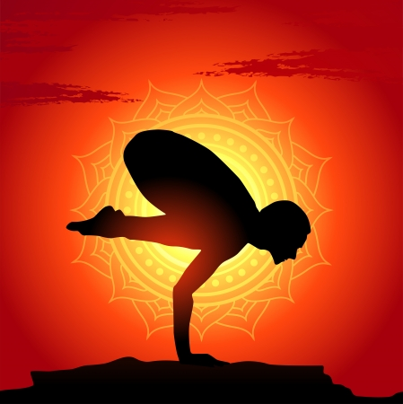 Vector illustration of yoga poses at sunset background Stock Vector - 15529904