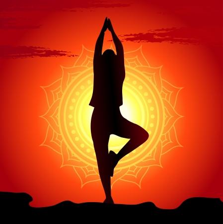 Mantra: Vektor-Illustration von Yoga-�bungen bei Sonnenuntergang Hintergrund