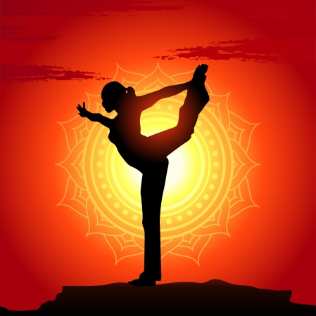 yoga sunset: Vector illustration of yoga poses at sunset background