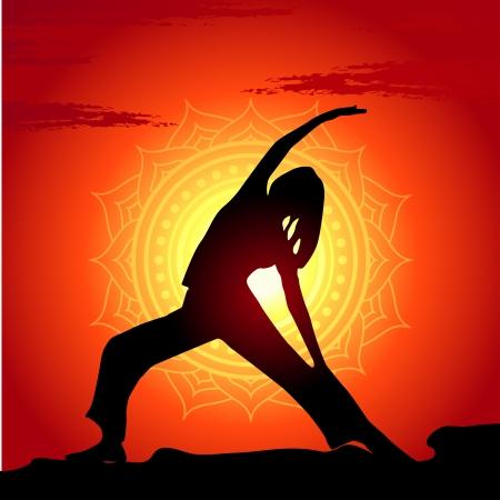 fit: Ilustraci�n vectorial de posturas de yoga en el fondo la puesta del sol