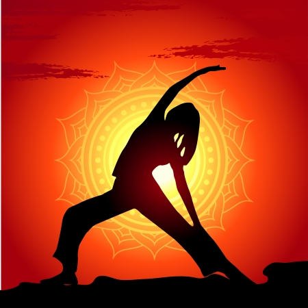 yoga outside: Vector illustration of yoga poses at sunset background