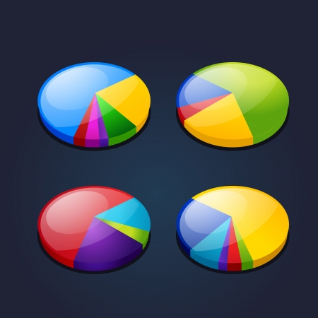 fraction: colorful set of pie graphic chart