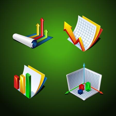 graph set icon. design elements for presentation Stock Vector - 15658140