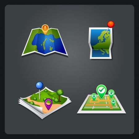map set icon with pin Vector
