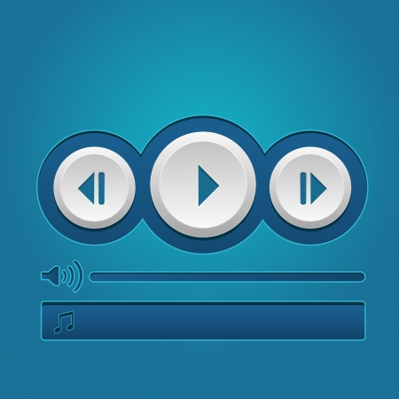 media player  button. Web Elements: Buttons, Player, Audio  Vector
