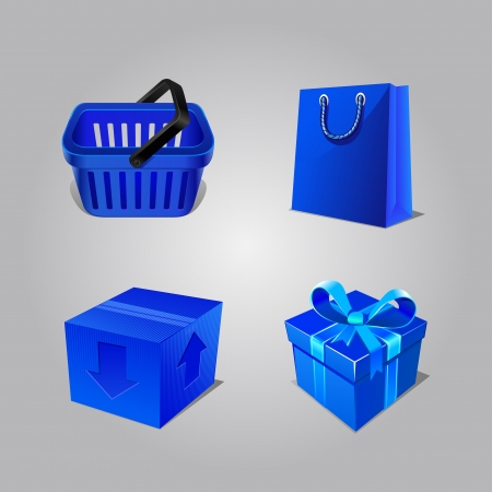 Collection For Shopping From Basket, Boxes And Packages