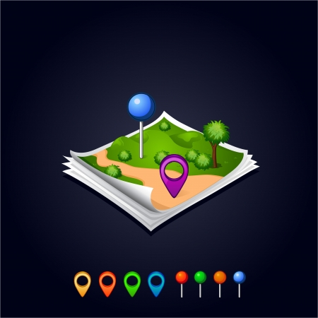 navigation mark: map with GPS icons and sheets paper Illustration