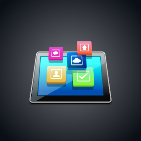 Tablet PC with cloud of application icons isolated on  background Çizim