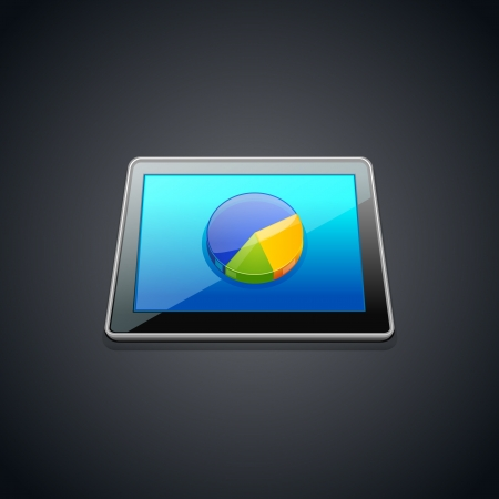 Tablet with statistics  pie graphic chart  icon Vector