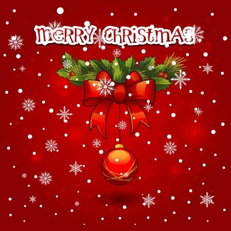 Christmas wreath with ball decoration  merry christmas card Stock Vector - 16798173