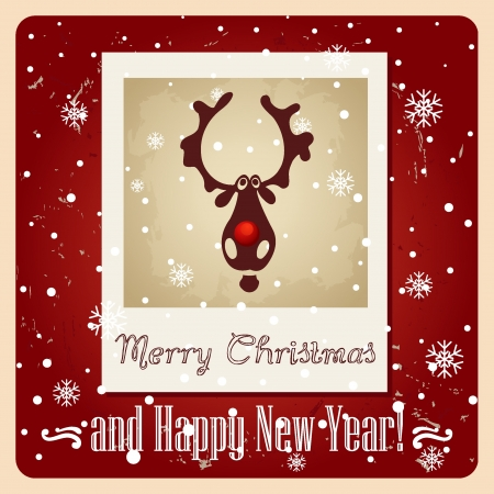 Christmas deer Greeting Card Vector
