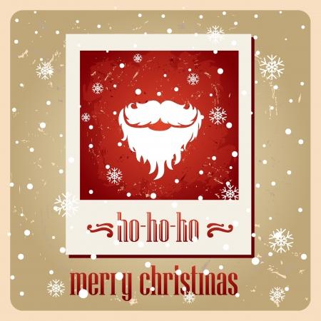Santa s mustache  Vector  Christmas card  ho-ho-ho Stock Vector - 16798161