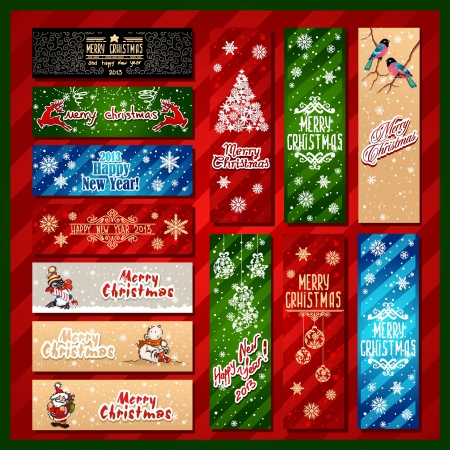 Merry Christmas, banner design background set Illustration
