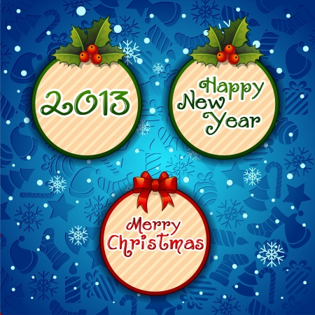 Merry Christmas-, Creative label blue background with snowflakes Stock Vector - 16798146