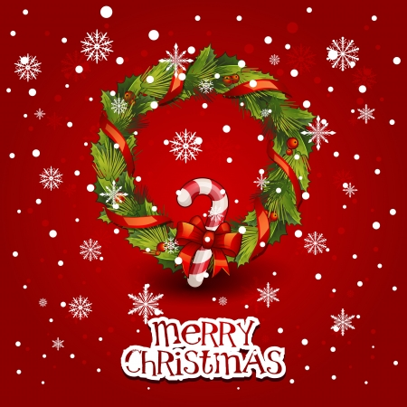Vector illustration - decorated christmas wreath. Christmas card Vector