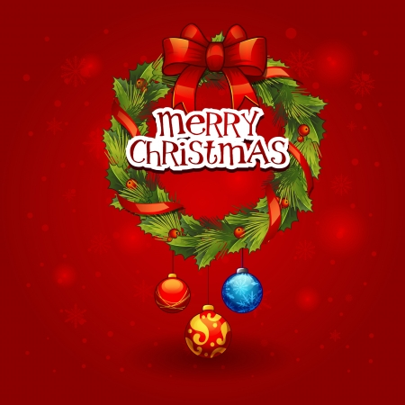 Vector illustration - decorated christmas wreath with balls. Christmas card  Vector