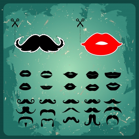 fake smile: Mustaches and lips shape props on a stick for a wedding  Illustration