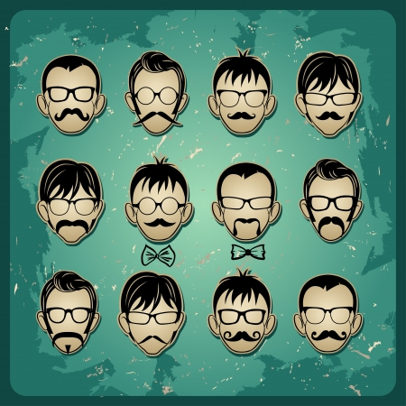 mustaches: Faces with Mustaches, sunglasses and a bow tie avatars  Illustration