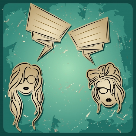 chat two girls,girls faces with hair, sunglasses and lips and eyeglass, speech chat icon Stock Vector - 17936449