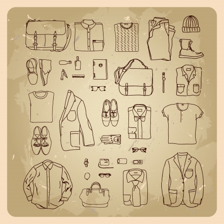 men s clothes sketches men fashion clothes and accessories Stock Vector - 17936450