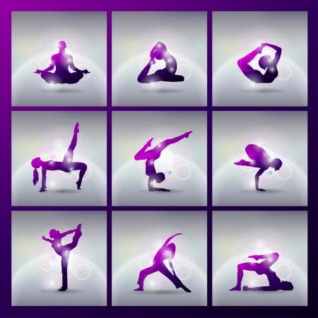 indian yoga: Set di illustrazione di meditare e fare yoga