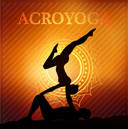 yoga outside: Acro yoga . Partnercouples yoga poses Illustration